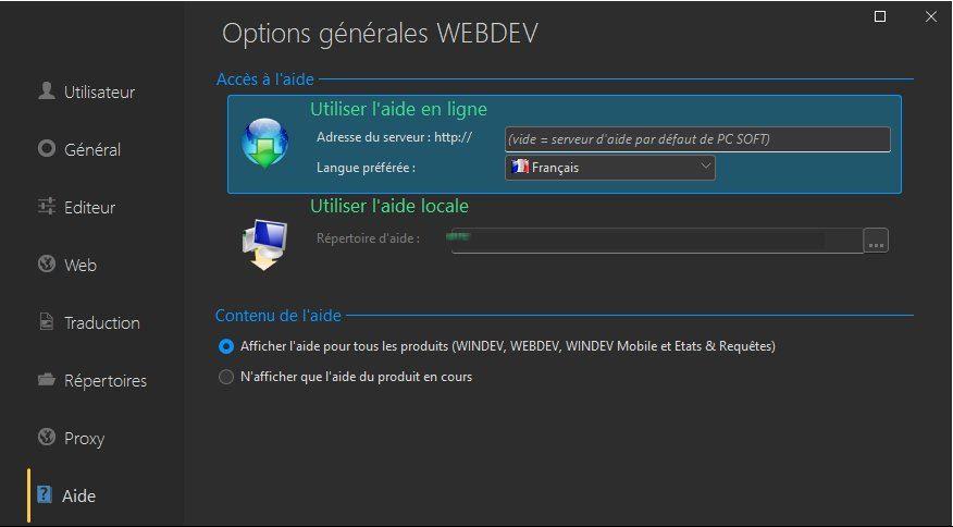 Options générales de WEBDEV
