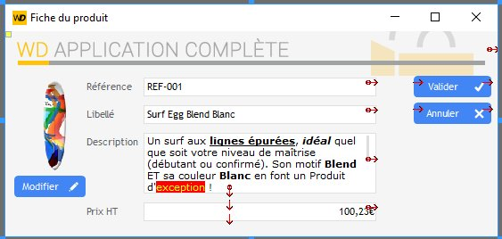 Interface de la fenêtre fiche sous l'éditeur