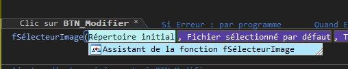 Assistant de fonction dans l'éditeur de code