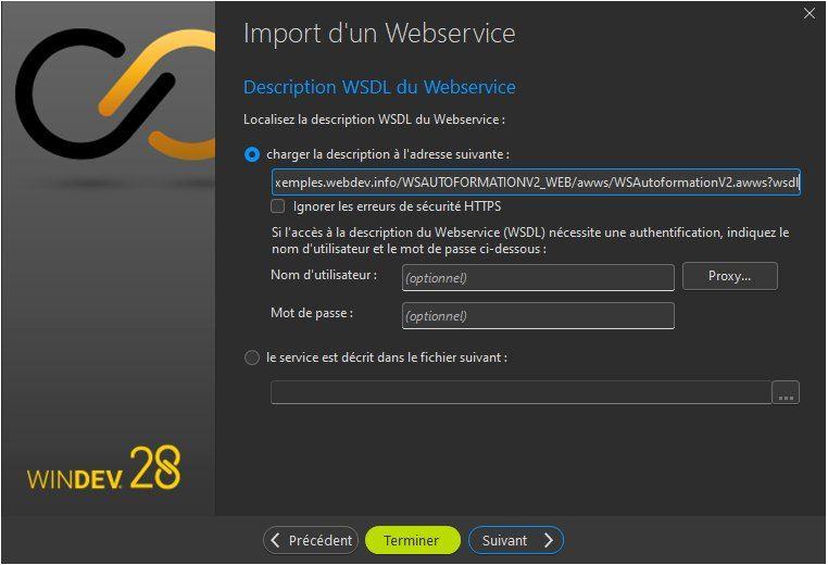 Assistant d'importation d'un Webservice