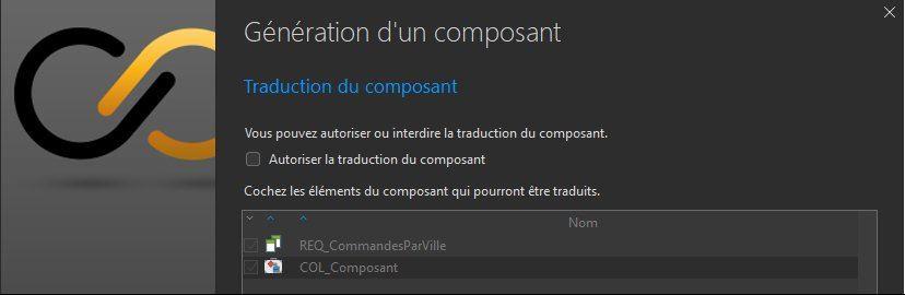 Génération d'un composant - Eléments accessibles
