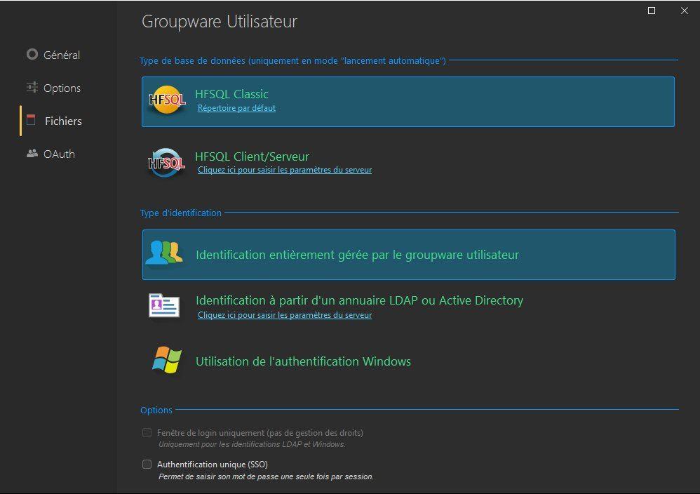 Configuration du groupware utilisateur