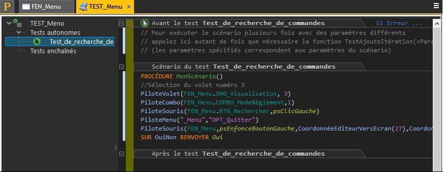 Code WLangage d'un test automatique