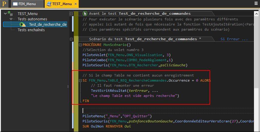 Modification du code WLangage d'un test automatique