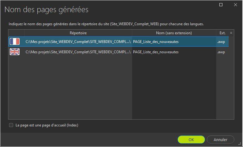Configuration des pages générées