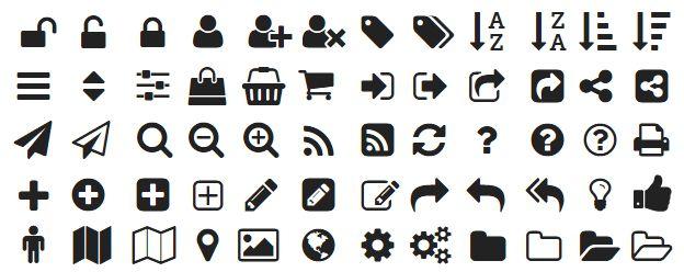 Exemples de polices d'icônes