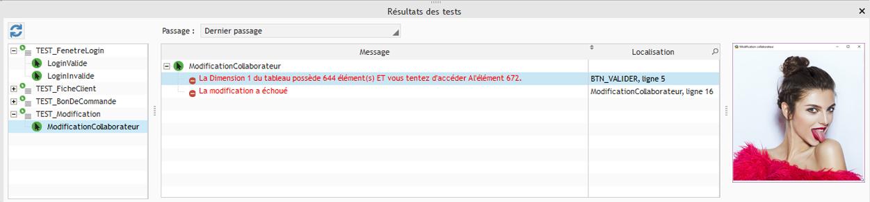 Copie d'écran lors d'une erreur de test