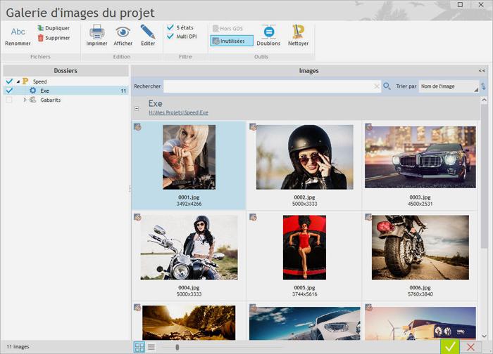 Vous avez une vue d'ensemble de toutes les images utilisées dans le projet