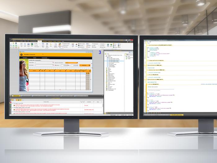 Les fenêtres de code sont affichées sur l'écran de droite