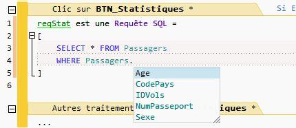 La saisie de code SQL sous l'éditeur profite de toutes les aides à la saisie. Ici les rubriques du fichier de données